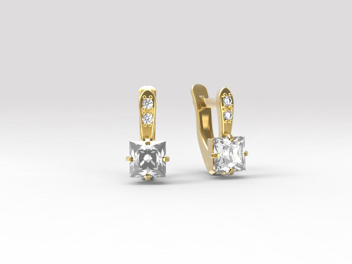 Золотые серьги с фианитом арт. с-141 с-141
