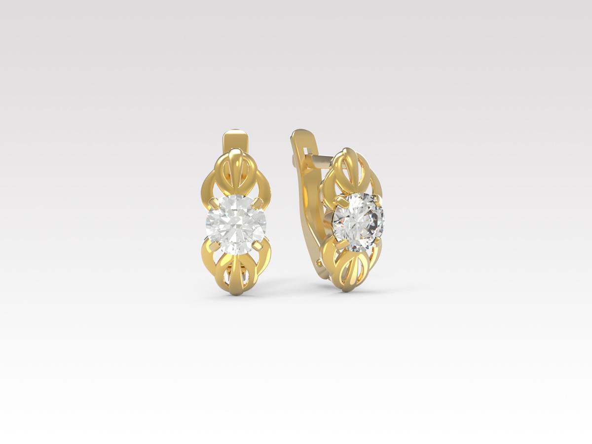 Золотые серьги с фианитом арт. с-149 с-149