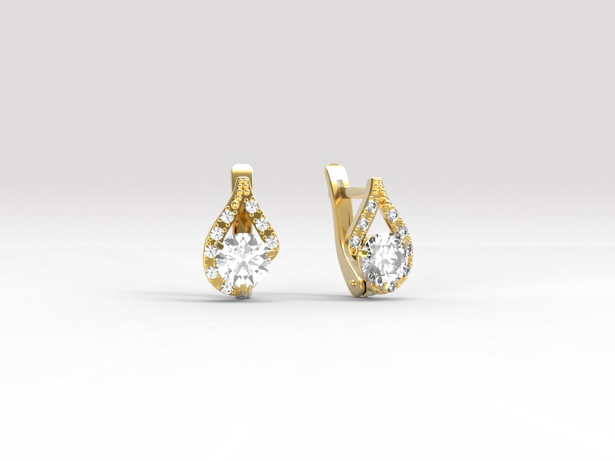 Золотые серьги с фианитом арт. с-183 с-183