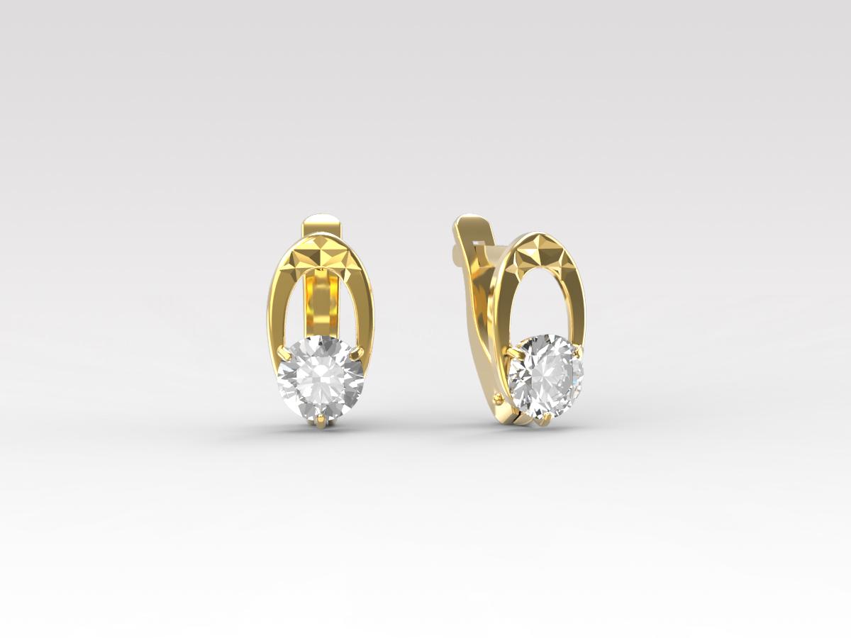 Золотые серьги с фианитом арт. с-230-а с-230-а