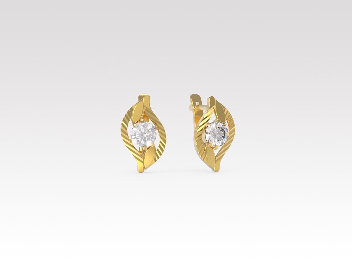 Золотые серьги с фианитом арт. с-523-а с-523-а