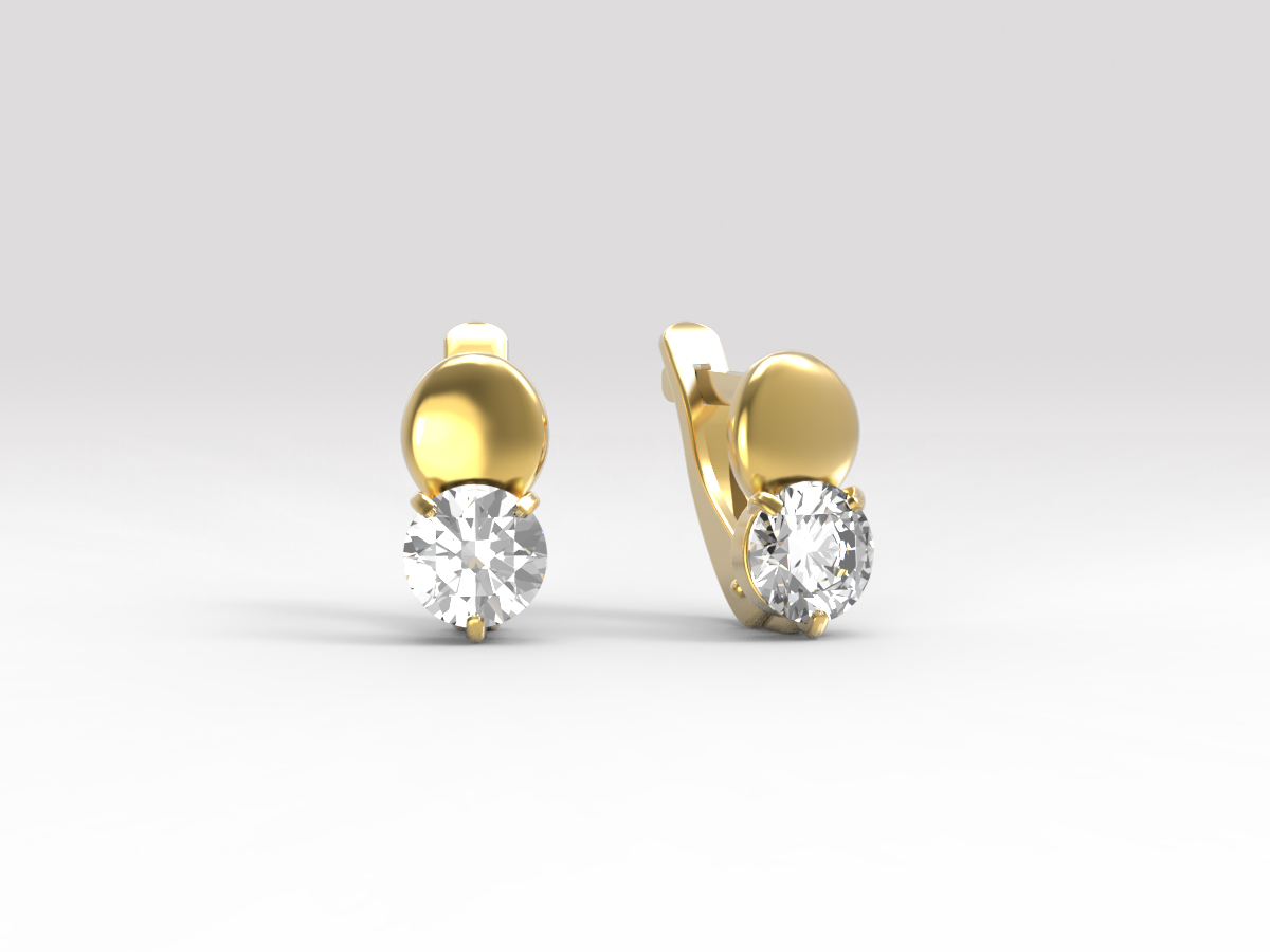 Золотые серьги с фианитом арт. с-162 с-162