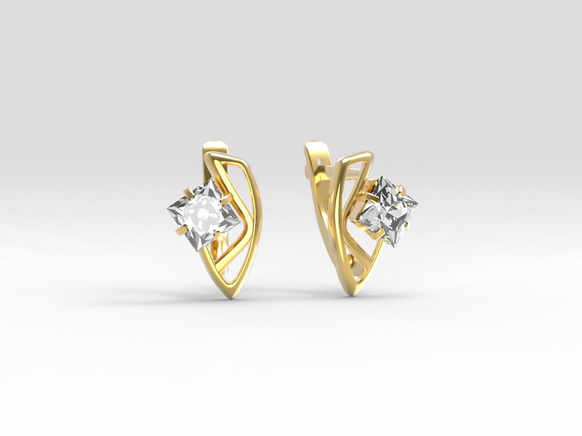 Золотые серьги с фианитом арт. с-206 с-206
