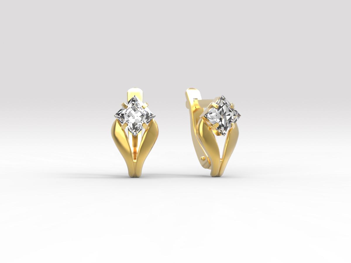 Золотые серьги с фианитом арт. с-212 с-212