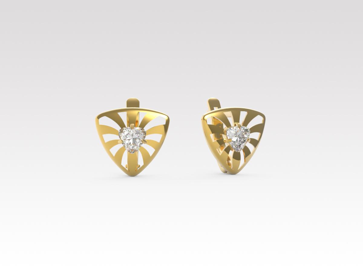 Золотые серьги с фианитом арт. с-223 с-223