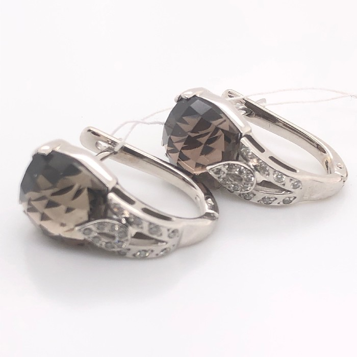 Серьги из белого золота с бриллиантом и раух-топазом арт. 81721663 81721663
