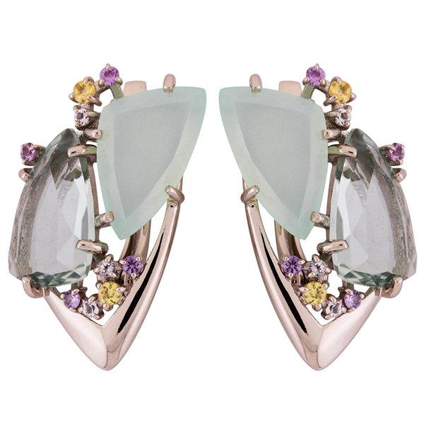 Серебряные серьги с фианитом и ювелирным кристаллом арт. 2168227 2168227
