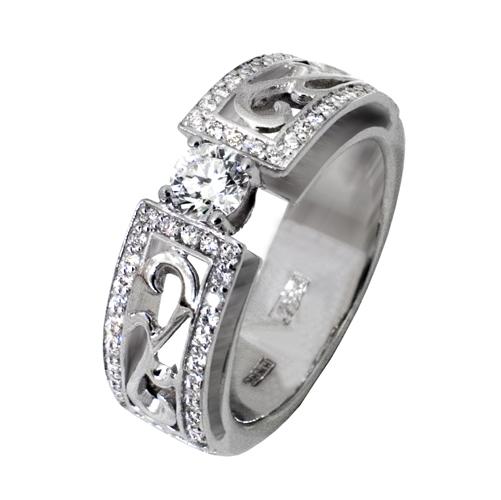 Кольцо из белого золота Бриллиант и Сапфир арт. 81621834 81621834