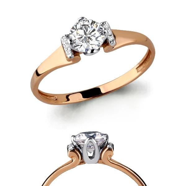 Золотое кольцо Кристалл сваровски и Фианит арт. 66364а 66364а