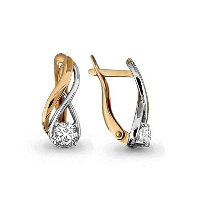 Золотые серьги с кристаллом сваровски арт. 43575 43575