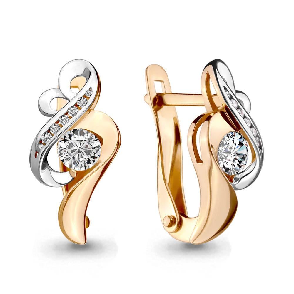 Золотые серьги с кристаллом сваровски и фианитом арт. 43346а 43346а