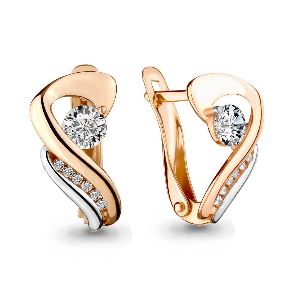 Золотые серьги с кристаллом сваровски и фианитом арт. 43348а 43348а