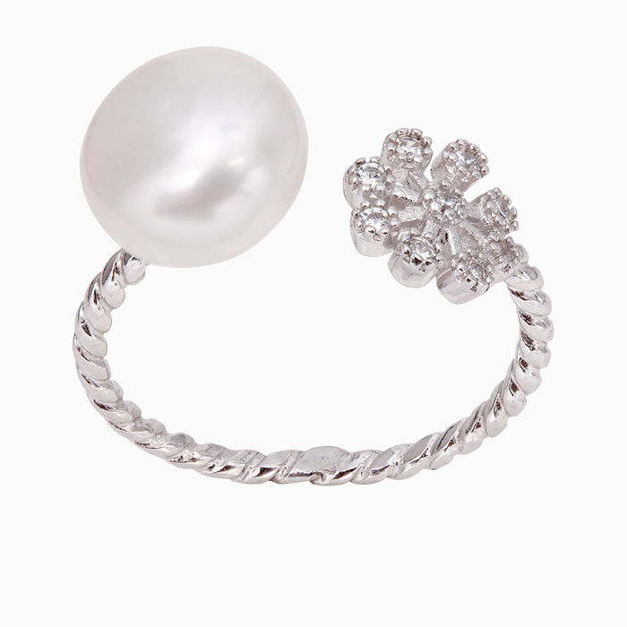 Серебряное кольцо Жемчуг и Фианит арт. 36953 36953