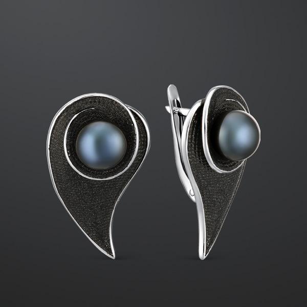 Серебряные серьги с чёрным жемчугом и эмалью арт. 52827S2B 52827S2B