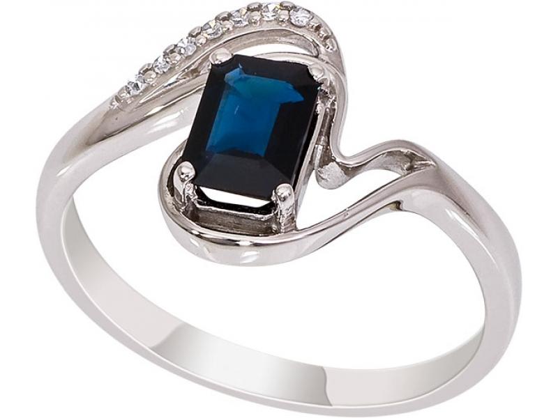 Кольцо из белого золота Бриллиант и Сапфир арт. 1015681-21140-с 1015681-21140-с