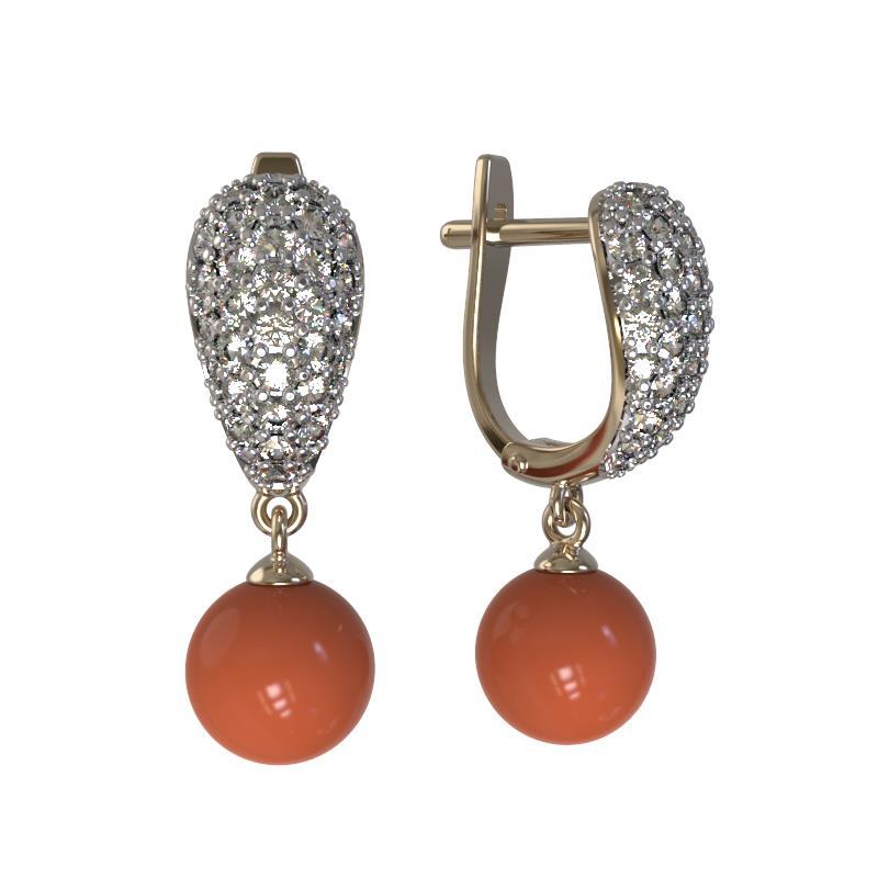 Серебряные серьги с кораллом и фианитом арт. 1024512-01110-к 1024512-01110-к