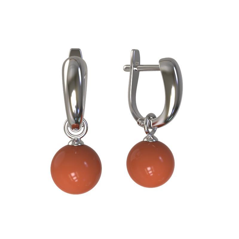 Серебряные серьги с кораллом арт. 1024532-01210-к 1024532-01210-к
