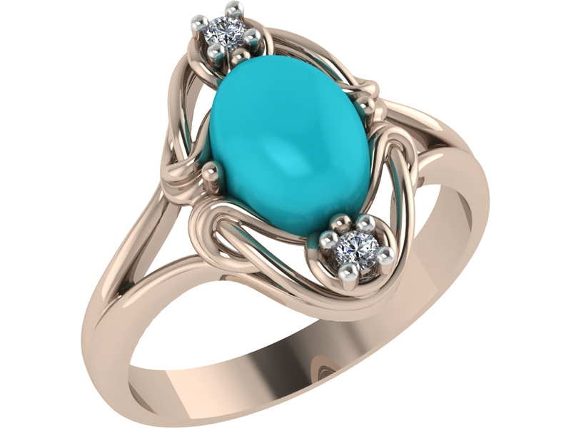 Золотое кольцо Бирюза и Фианит арт. 1023661-11230-б 1023661-11230-б