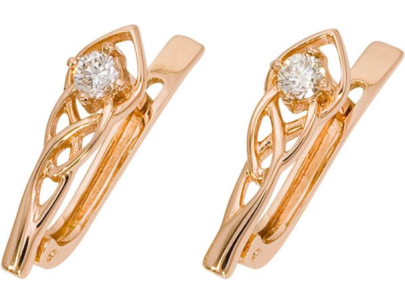Золотые серьги с бриллиантом арт. 1018872-11240 1018872-11240