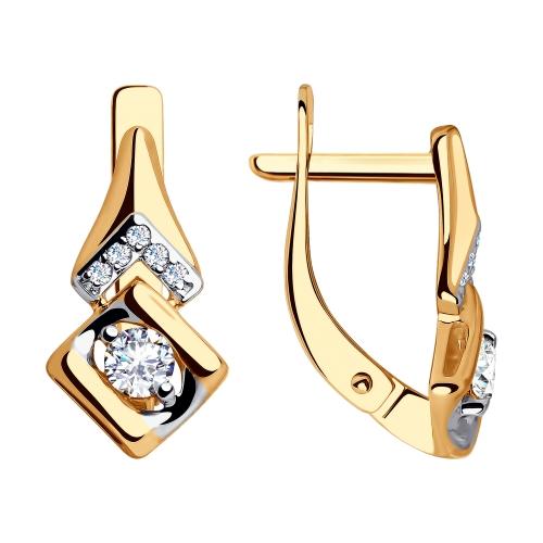 Золотые серьги с фианитом арт. 028112 028112