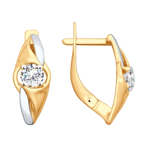 Золотые серьги с фианитом арт. 028041 028041