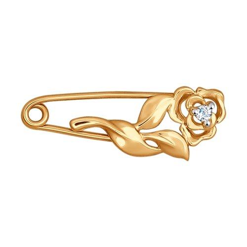 Золотая булавка с фианитом арт. 040187 040187