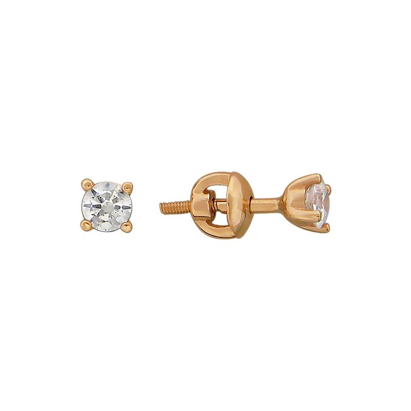 Серьги пусеты из золота с кристаллом сваровски арт. 01с119306 01с119306
