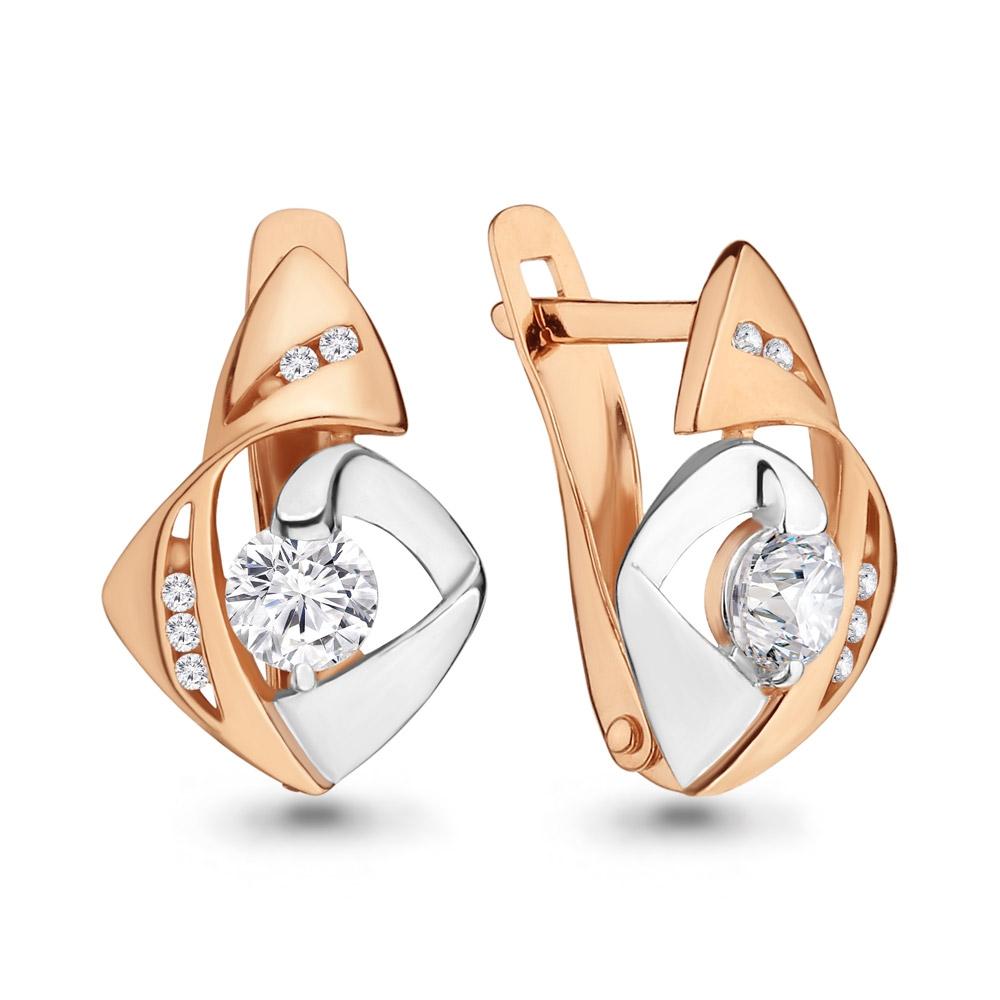 Золотые серьги с кристаллом сваровски и фианитом арт. 43342а 43342а