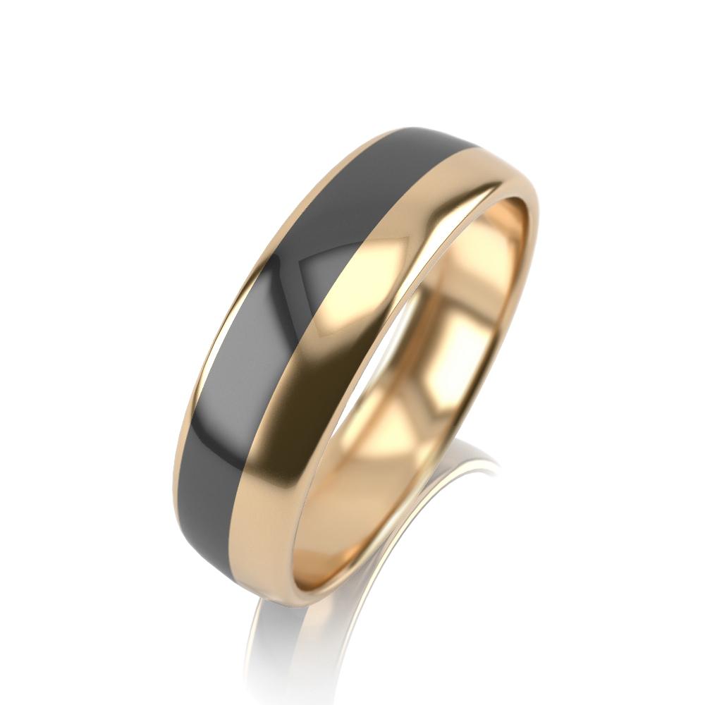 Обручальное кольцо из лимонного золота с эмалью арт. 32К-ЖМкч 32К-ЖМкч