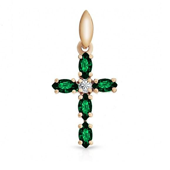 Золотой крест с бриллиантом и изумрудом арт. j01-d-46524-em j01-d-46524-em