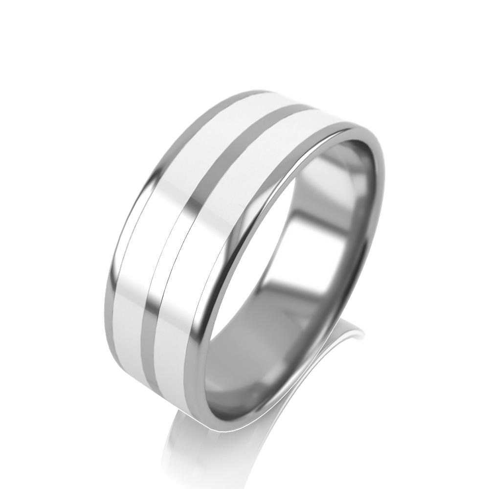 Обручальное кольцо из белого золота с эмалью арт. 1716б_бк 1716б_бк