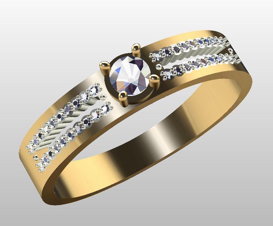 Помолвочное кольцо из золота с бриллиантом 0253-110
