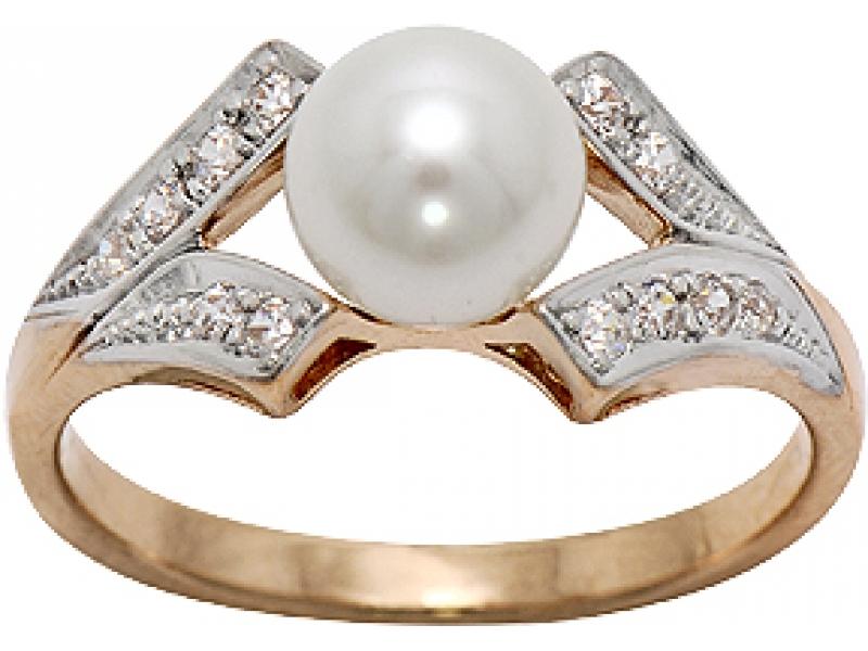 Золотое кольцо Жемчуг и Фианит арт. 1006971-11150 1006971-11150