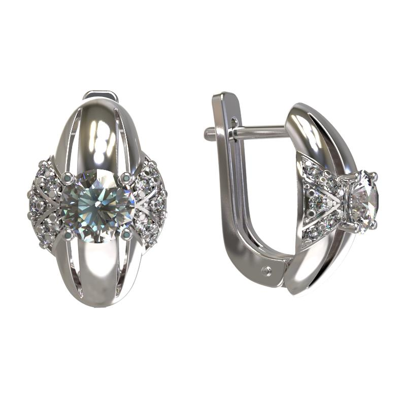 Серебряные серьги с фианитом арт. 1031992-01110 1031992-01110