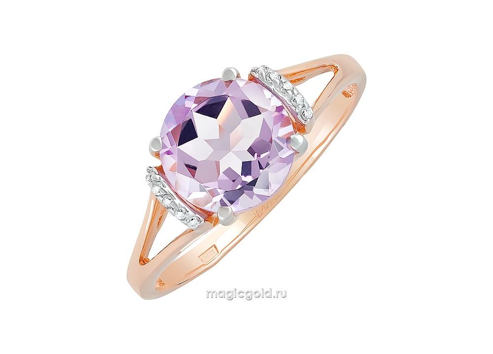Золотое кольцо Аметист и Фианит арт. кл-625к-а кл-625к-а