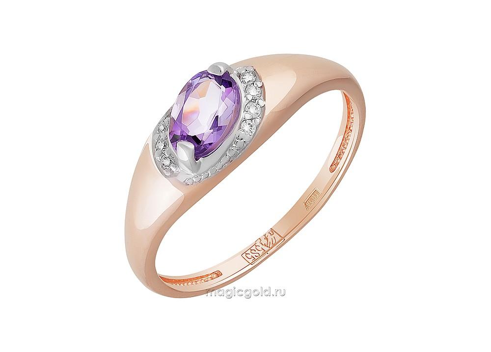 Золотое кольцо Аметист и Фианит арт. кл-785к-а кл-785к-а