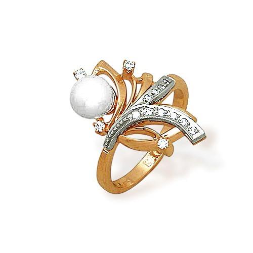 Золотое кольцо Бриллиант и Жемчуг арт. 14000356 14000356