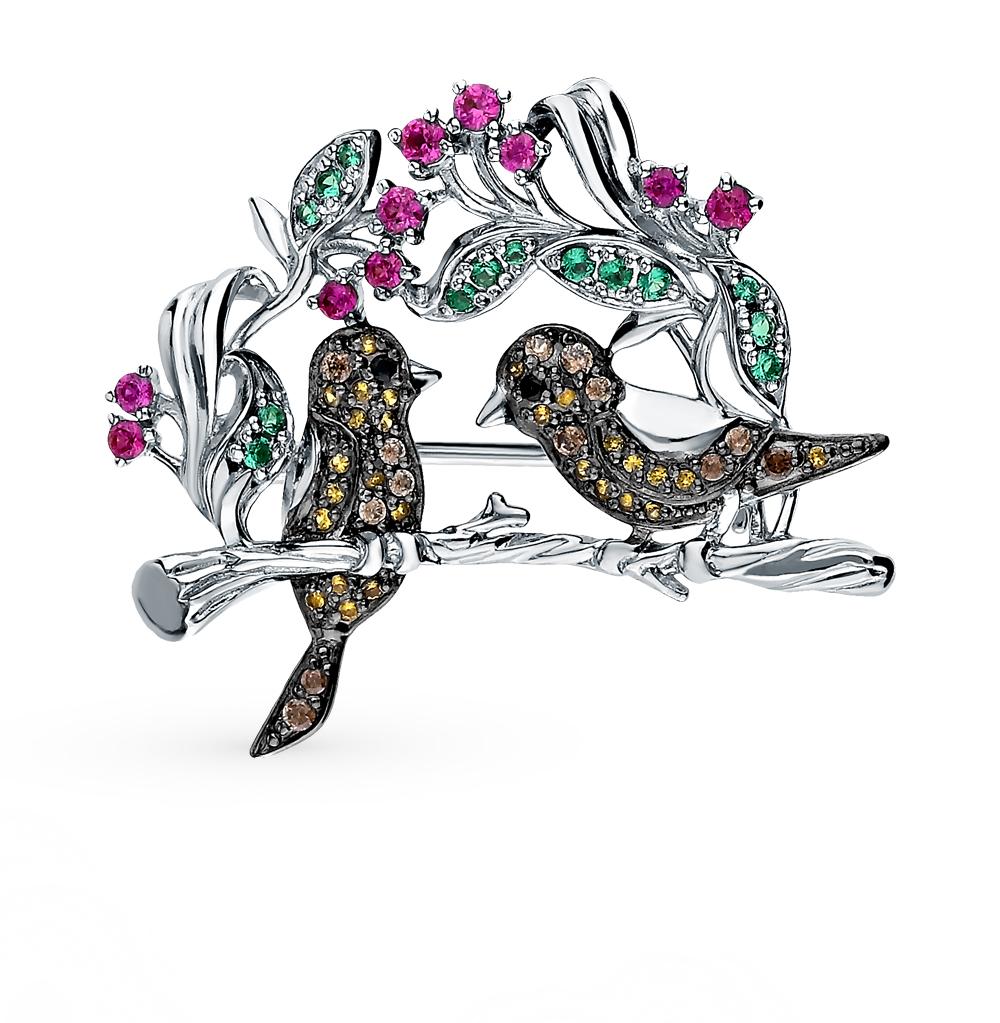 Серебряная брошь с фианитом и коричневым фианитом арт. 1510065772-501 1510065772-501