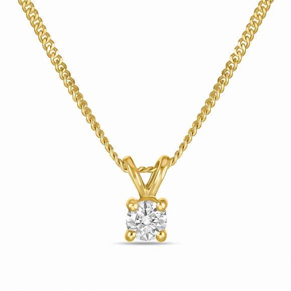 Колье из лимонного золота с бриллиантом арт. n01-sol18-010-g2 n01-sol18-010-g2
