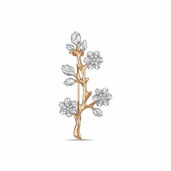 Золотая брошь с бриллиантом арт. h01-33006 h01-33006