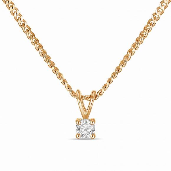 Золотое колье с бриллиантом арт. n01-sol18-005-g2 n01-sol18-005-g2