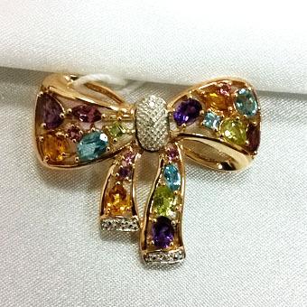 Золотая брошь с аметистом, бриллиантом, перидотом, родолитом, топазом, турмалином и цитрином арт. 330079км 330079км