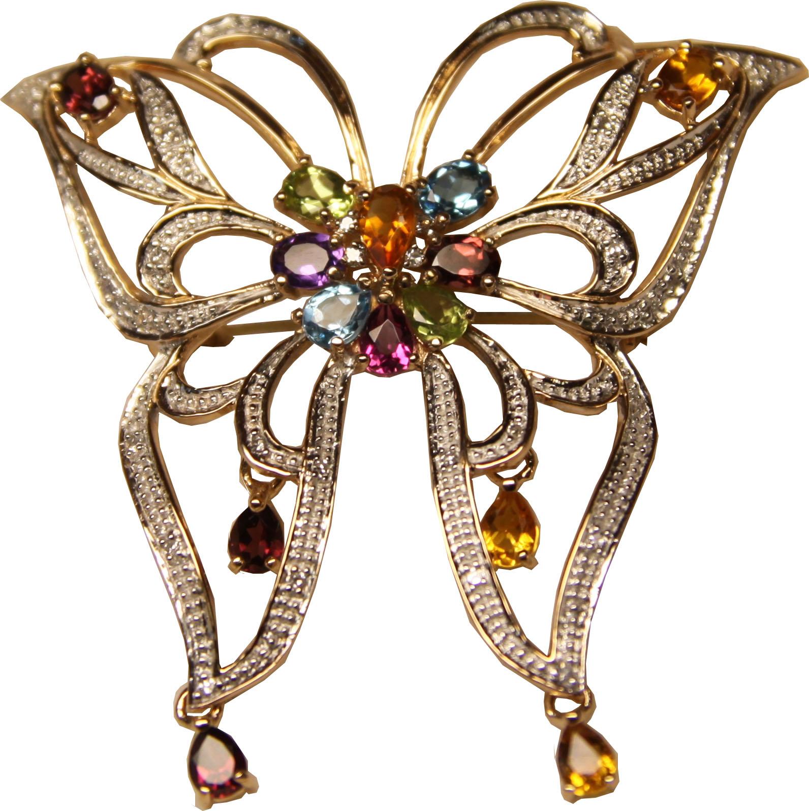 Золотая брошь с аметистом, бриллиантом, перидотом, родолитом, топазом, турмалином и цитрином арт. 330089км 330089км