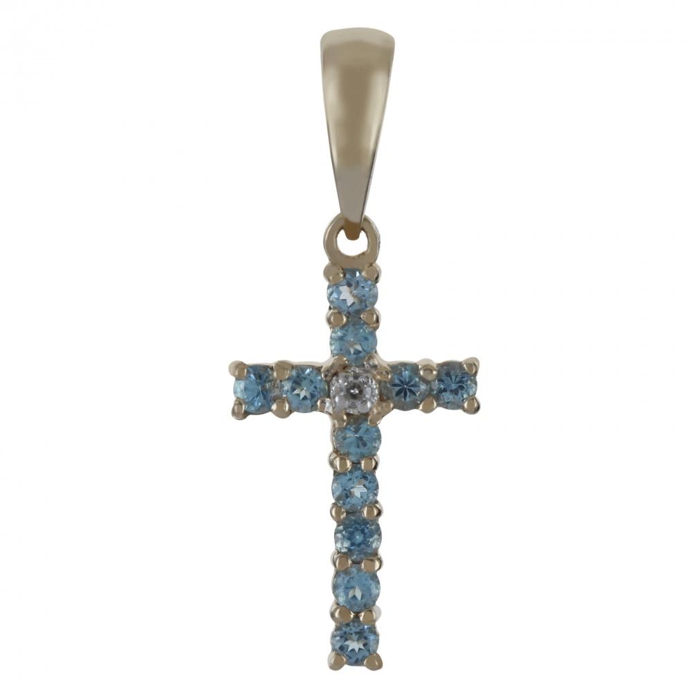 Золотой крест с бриллиантом и топазом арт. 350002кт 350002кт
