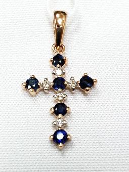 Золотой крест с бриллиантом и сапфиром арт. 550051кс 550051кс