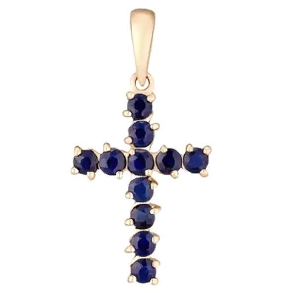 Золотой крест с сапфиром арт. 550053кс 550053кс