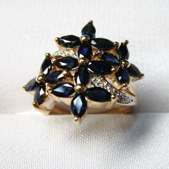 Золотое кольцо Бриллиант и Сапфир арт. 242818кс 242818кс