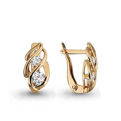 Золотые серьги с кристаллом сваровски арт. 43568.1 43568.1