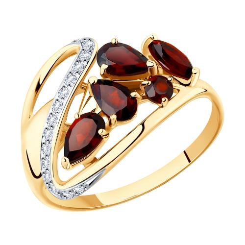 Золотое кольцо Гранат и Фианит арт. 715392 715392