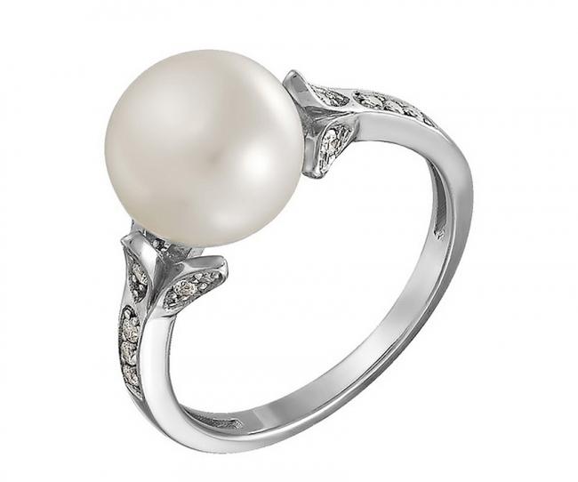 Серебряное кольцо Жемчуг и Фианит арт. с44-8579кж-17 с44-8579кж-17